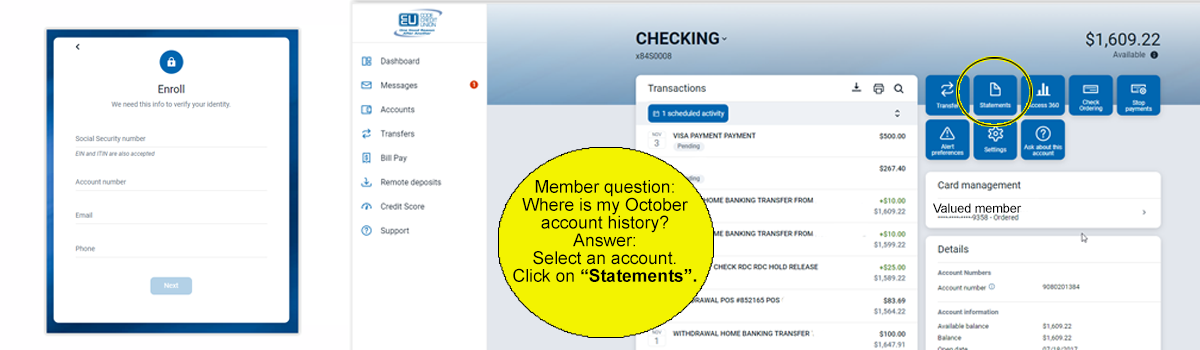 online banking enrollment screen and statement screen