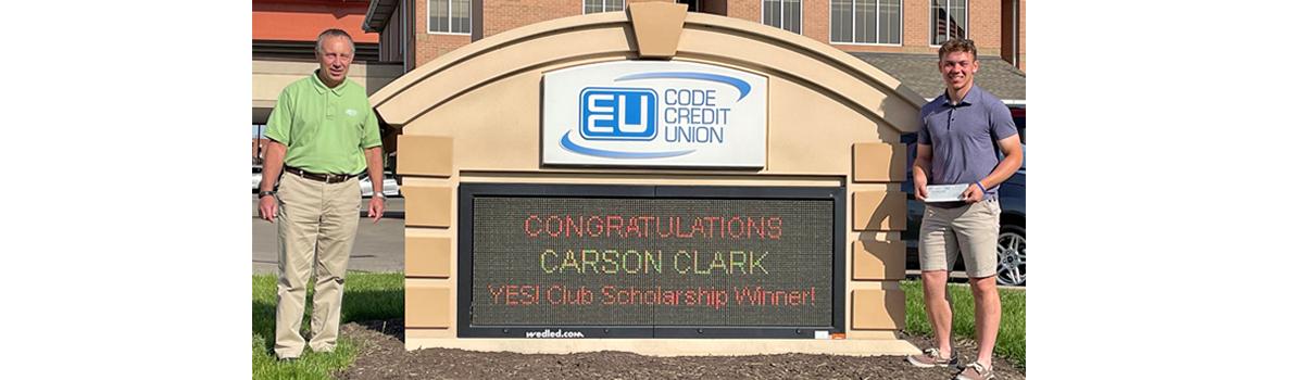 LED sign and scholarship winner