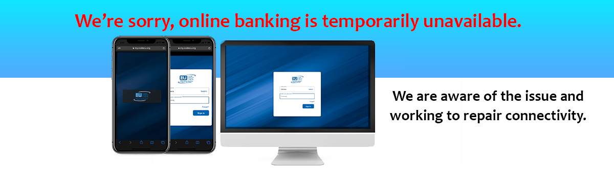 online banking screens unavailable