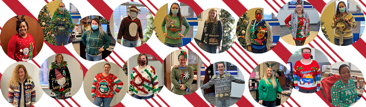 staff wearing ugly christmas sweaters