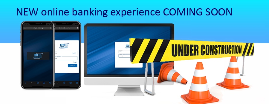 online banking with construction sign